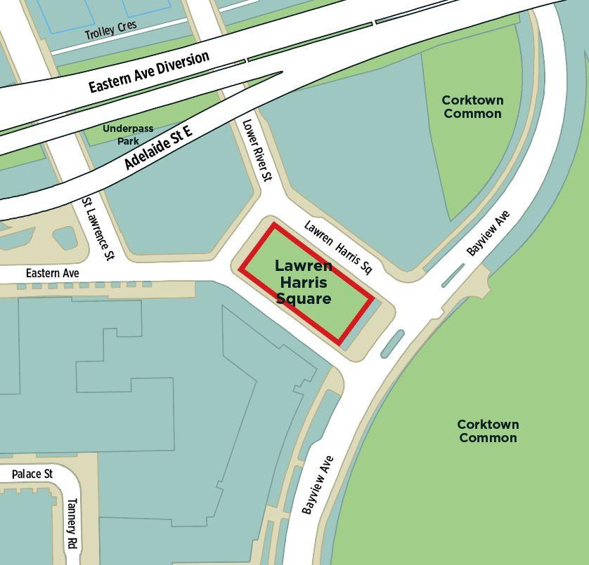 Aerial photo of Lawren Harris Square Park